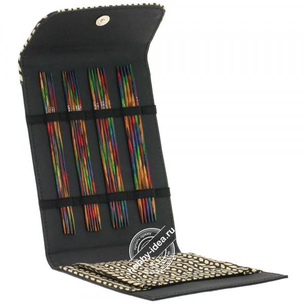 Купить Lana Grossa Набор чулочных спиц, 15 см, малый (дерево, многоцветные, замша), Черный